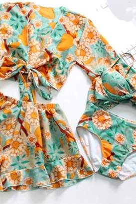 Tiny House Of Fashion Orange Floral Swimsuit Set