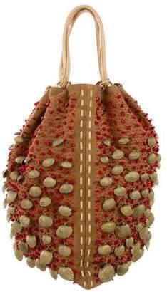Oscar de la Renta Embellished Suede Bucket Bag