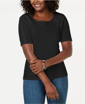 Karen Scott Cotton Lace-Applique T-Shirt