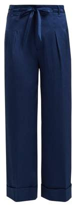 Roland Mouret Perkins Hammered Stretch Silk Wide Leg Trousers - Womens - Blue