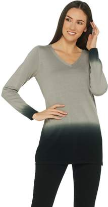 Belle By Kim Gravel Belle by Kim Gravel V-Neck Dip Dye Long Sleeve Sweater