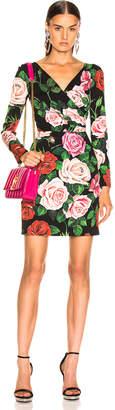 Dolce & Gabbana Rose Print Charmeuse Long Sleeve Dress in Rose Multi | FWRD