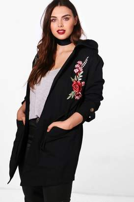boohoo Plus Emily Embroidered Lightweight Parka