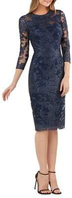 JS Collections Lace Embroidered Sheath Dress