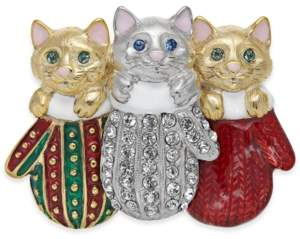 Holiday Lane Two-Tone Pave Kitten Mitten Pin, Created For Macy's