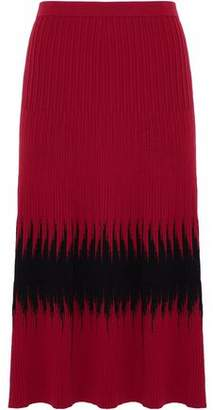 Tomas Maier Two-Tone Ribbed-Knit Midi Skirt