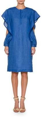 Agnona Ruffled Split-Sleeve Linen Skimmer Dress