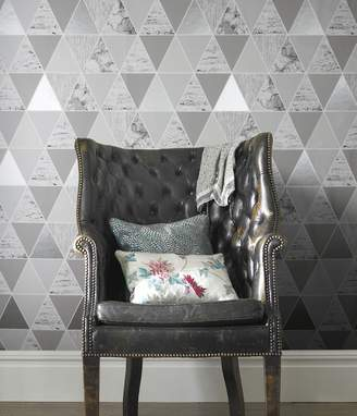 At House Of Fraser Graham Brown Silver Reflections Geometric Wallpaper