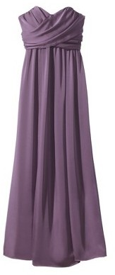 Women's Satin Strapless Maxi Bridesmaid Dress Fashion Colors - TEVOLIO