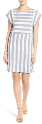 Petite Women's Caslon Stripe Linen Shift Dress $79 thestylecure.com