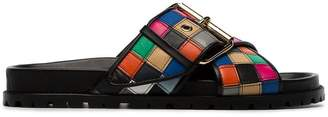 Sacai Multicoloured Patchwork Leather Slides