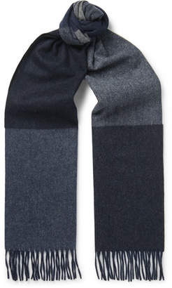 Co Begg & Vigo Fringed Colour-Block Wool And Cashmere-Blend Scarf