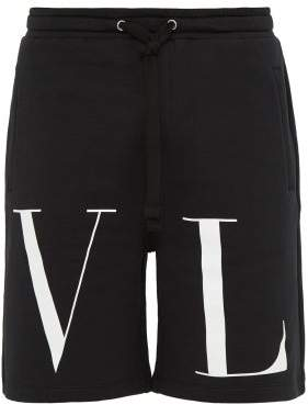 Valentino Vltn Print Cotton Blend Jersey Shorts - Mens - Black