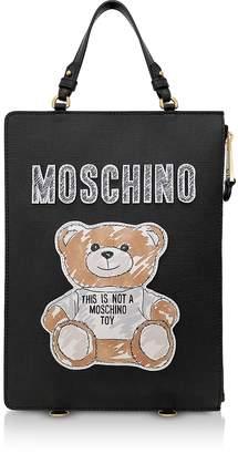 Moschino Black Teddy Bear Brushstroke Signature Backpack/Tote Bag