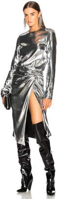 Saint Laurent Metallic Velvet Midi Dress