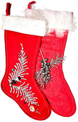 One Kings Lane Vintage Midcentury Holiday Stockings - Set of 2 - Portfolio No.6