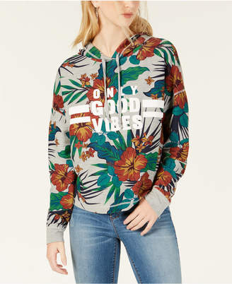 Rebellious One Juniors' Only Good Vibes Printed Graphic Hoodie