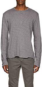 ATM Anthony Thomas Melillo ATM ANTHONY THOMAS MELILLO MEN'S DISTRESSED SLUB COTTON HENLEY-GRAY SIZE S