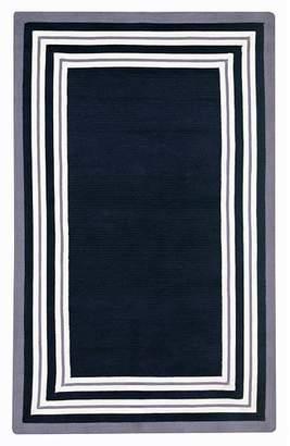 Pottery Barn Teen Capel Multiple Border Rug, Royal Navy/White/Purple, 8x10