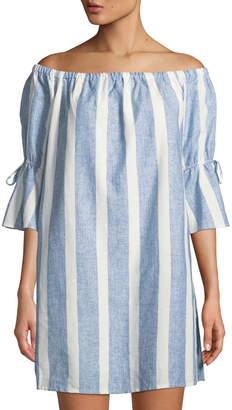Catherine Malandrino Off-The-Shoulder Striped Flare-Sleeve Dress