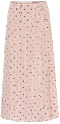 Valentino Mini VLOGO silk midi skirt