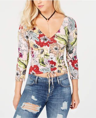 GUESS Floral-Print Cropped Top