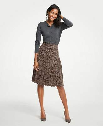 Ann Taylor Petite Geo Dot Pleated Full Skirt