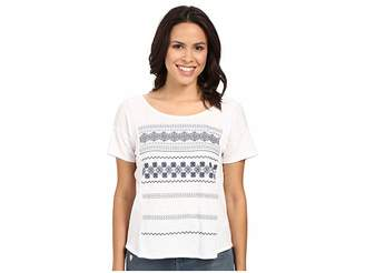 Mavi Jeans Scoop Back Embroidered Top Women's Short Sleeve Pullover
