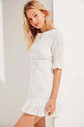 Urban Outfitters Embroidered Eyelet Ruffle Mini Dress