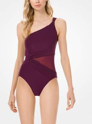 95a6f674c9a09 MICHAEL Michael Kors Mesh-Inset One-Shoulder Swimsuit