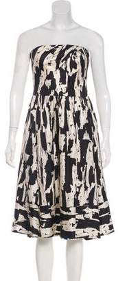 Carmen Marc Valvo CMV Silk Strapless Midi Dress
