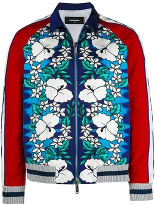 DSQUARED2 Hawaiian print bomber jacket