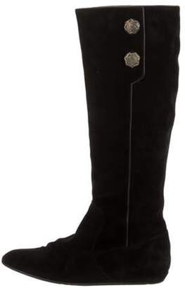 Oscar de la Renta Suede Knee-High Boots Black Suede Knee-High Boots