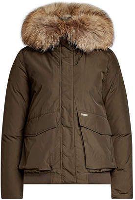 Woolrich Short Military Down Parka with Fur-Trimmed Hood