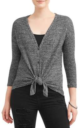 Almost Famous Juniors' Brushed Waffle Knit Button Tie Front Long Sleeve Blouse