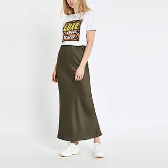 River Island Khaki bias cut maxi skirt