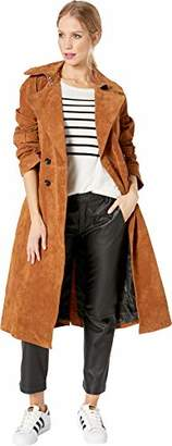 AVEC LES FILLES Women's Suede Mid Length Double Breasted Trench Coat