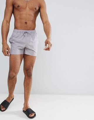Asos DESIGN swim shorts in gray in short length