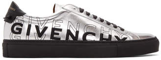 Givenchy Silver and Black Embroidered Urban Street Sneakers