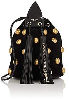 Saint Laurent Women's Anja Small Suede Bucket Bag - Black