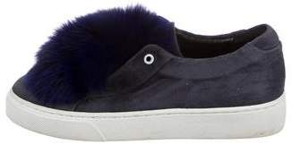 Here/Now Fur-Trimmed Flatform Sneakers