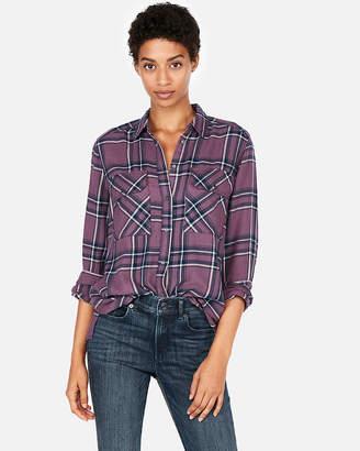 Express Purple Plaid Flannel Boyfriend Shirt