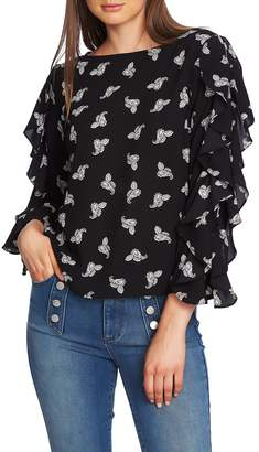 1 STATE 1.STATE Paisley Petals Ruffle Slit Sleeve Top