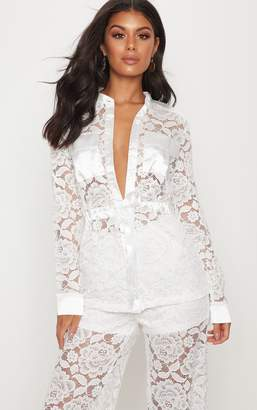 PrettyLittleThing White Lace Military Detail Tie Waist Shirt