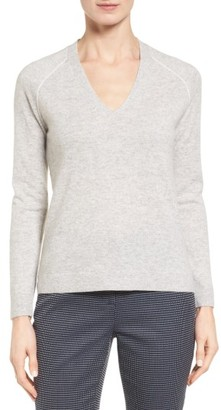 Women's Nordstrom Collection Contrast Seam Cashmere Pullover $229 thestylecure.com