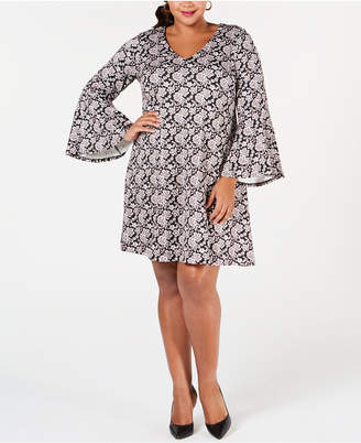 Robbie Bee Plus Size Floral-Printed Cutout A-Line Dress