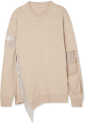Christopher Kane Cutout Crystal-embellished Wool Sweater - Mushroom