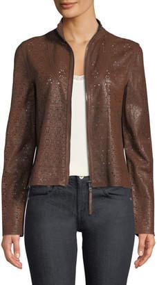 Elie Tahari Highline Laser-Cut Leather Topper Jacket