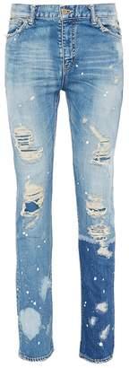 NOVE Paint splatter ripped skinny jeans