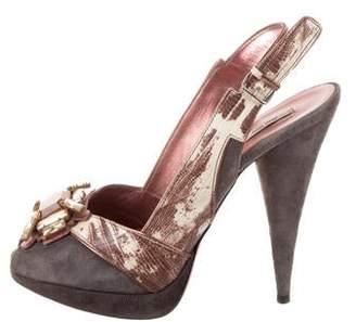 a85550190f Miu Miu Platform Heel Women's Sandals - ShopStyle